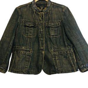 DKNY Dark Wash Jean Jacket Blue Bead Trim Jacket